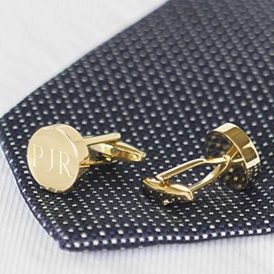 Personalized Groomsmen Gold Round Cufflinks (Gift Boxed)