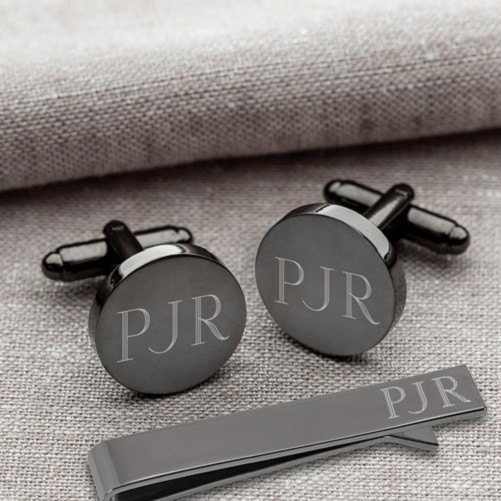 Personalized Gunmetal Round Cufflinks and Tie Clip Set