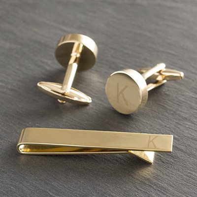 This cufflink set is engraved with a K. Yours will be engraved with whichever letter you want.
