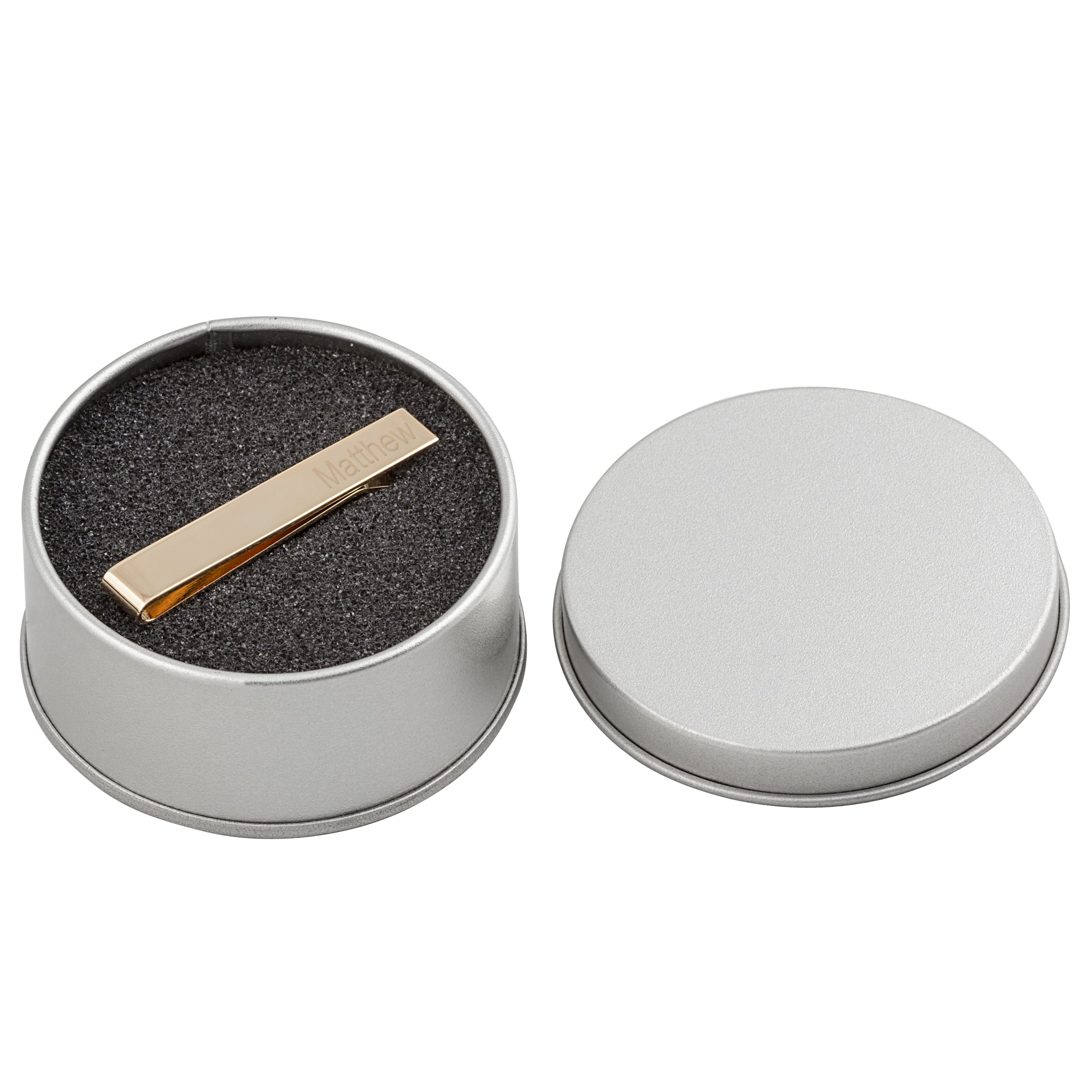 The tie clip arrives in a silver padded gift tin.