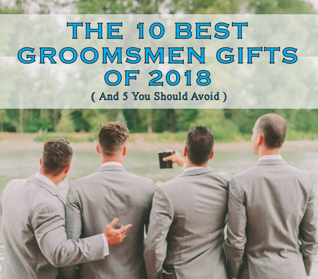 Groomsmen in grey suits gathering to enjoy some of the best groomsmen gifts of 2018