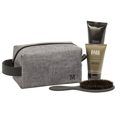 The Personalized Grey Travel Dopp Kit has ample room to store all of your grooming products.