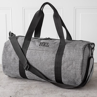 Make sure each groomsman's duffle bag is customized with his initials to make a great gift.