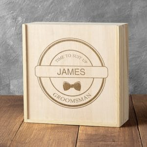 "Personalized ""Time to Suit Up"" Wooden Groomsman Gift Box"