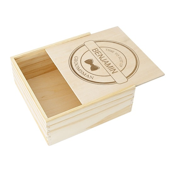 Sliding lid for groomsman gift box (WD-GMB3981)