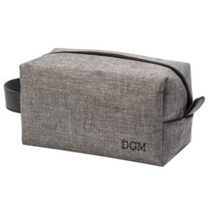 This grey travel dopp kit is ideal for the gentleman on the go.