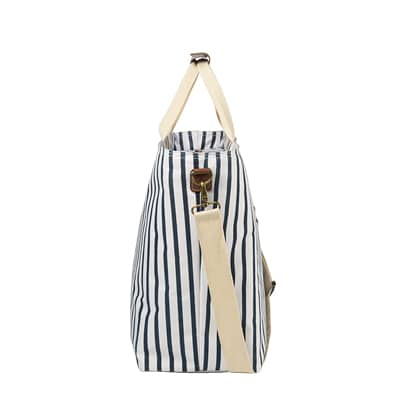 Side view of a personalized large striped cooler beach bag