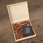 Circle monogram on groomsmen gift box