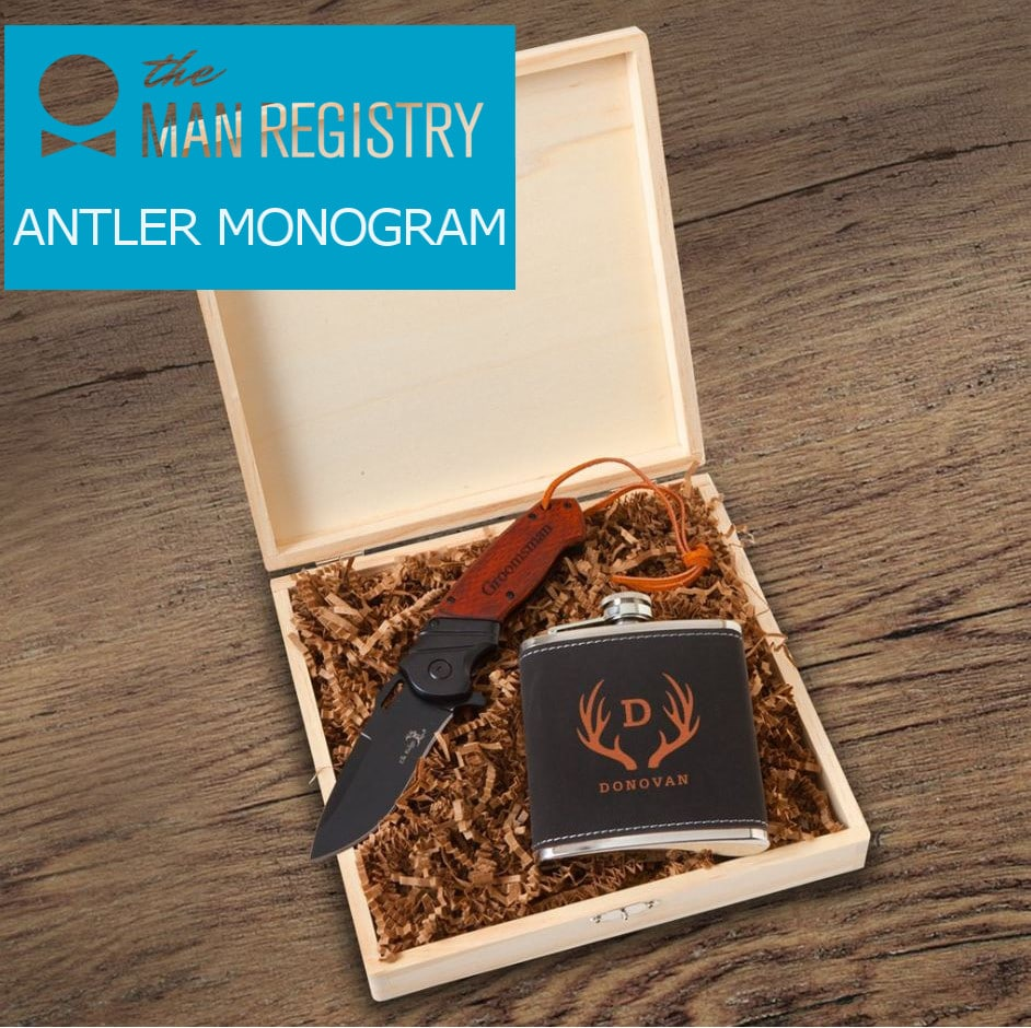 Antler monogram for Stirling groomsmen box