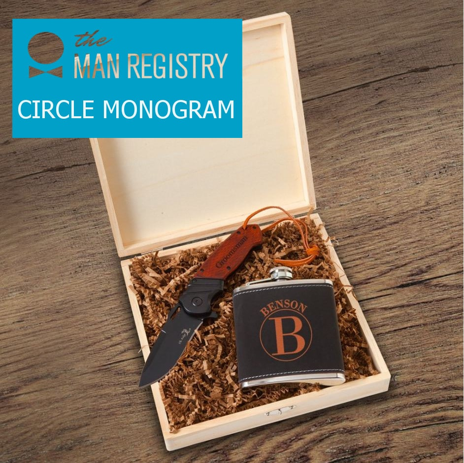 Circle monogram design for Stirling groomsmen gift box