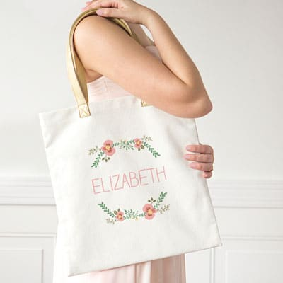 Customize a floral tote for your bridesmaids and flower girl.