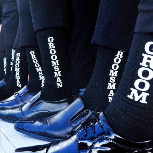 Black Matching Wedding Socks for the Groom and Groomsmen