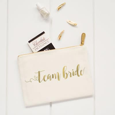 The Team Bride clutch is on sale making for an affordable bridesmaid gift.