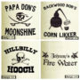 Choose from one of these four designs for your moonshine jug: moonshine, corn likker, hooch and fire water.