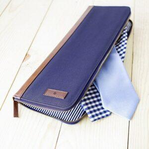 Personalized Men's Blue Travel Tie Case
