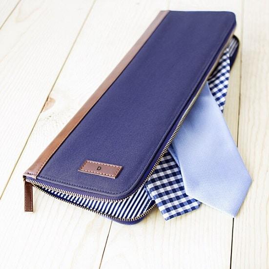 Personalized Men's Blue Travel Tie Case - Groomsmen Gift - TMR084