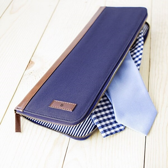Personalized Men's Blue Travel Tie Case