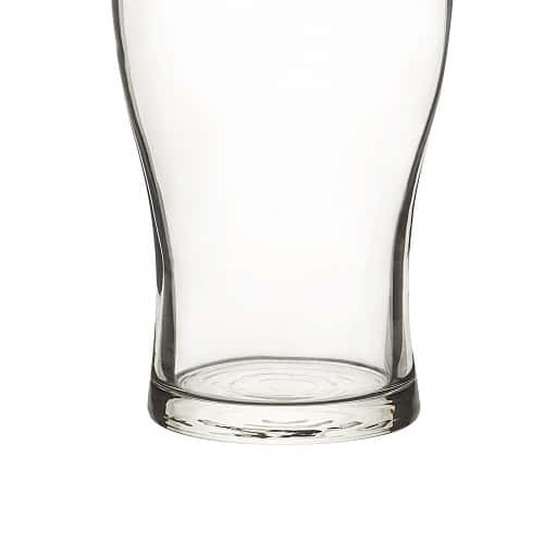The sturdy base of these pilsner glasses won't crack or chip over time (and is dishwasher safe)