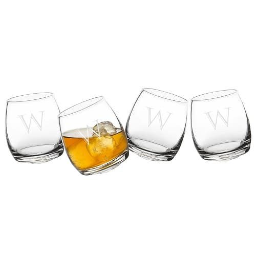The 4pc. set of swivel whiskey glasses is perfect for groomsmen and wedding parties.