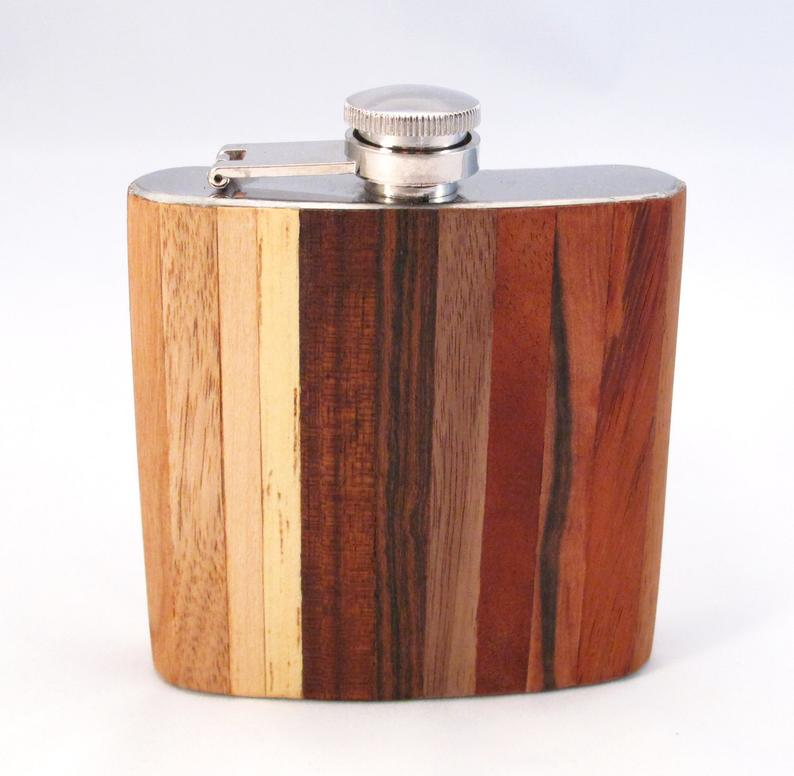 exotic wood flask from etsy