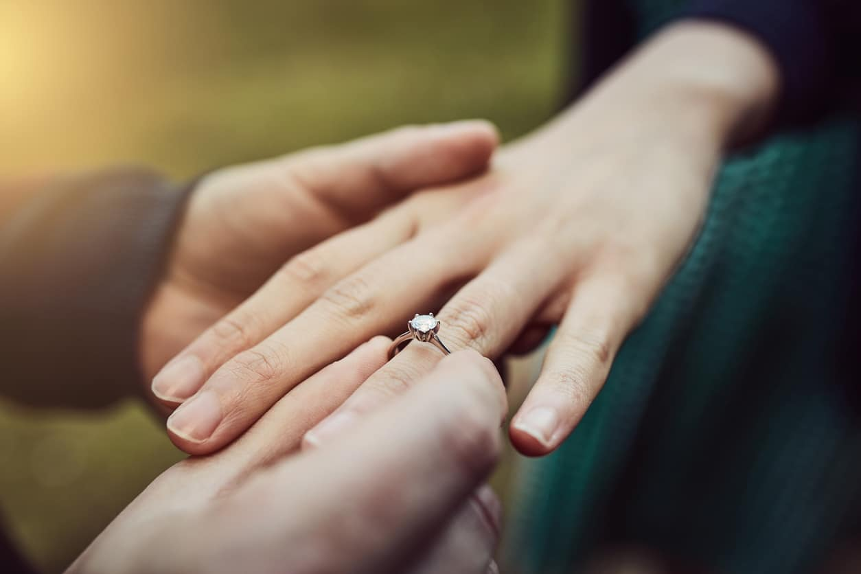Cropped shot of a man putting an engagement ring onto his fiancee's finger outdoors