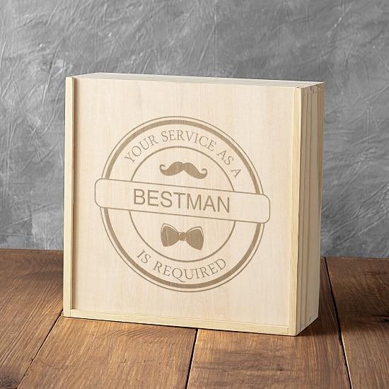Best man box with bowtie and mustache