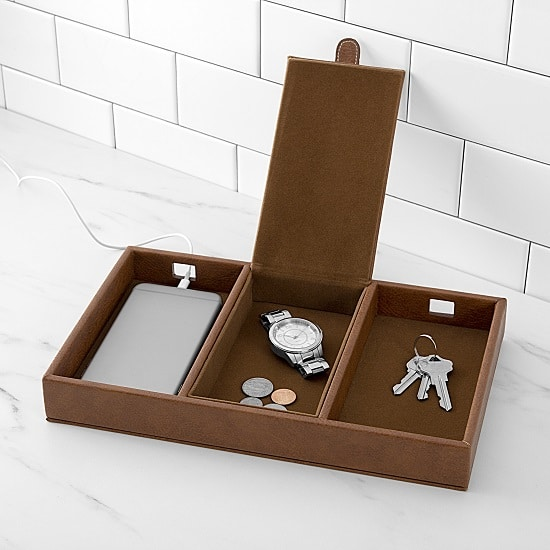 Organize your desk, dresser or kitchen counter with this vegan leather charging station.