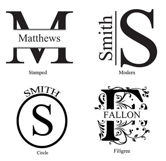 Add the name and initials for each groomsmen in one of these attractive monogram designs.