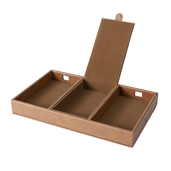 There's plenty of room for phones, cords and loose change in our men's desktop organizer.
