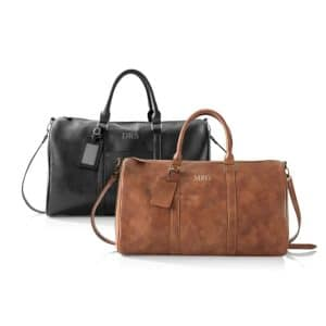 Men's Leather Weekender Duffle Bags available in brown or black