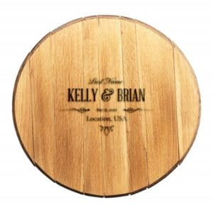 Personalized Whiskey Barrel Wedding Guest Book (Contemporary Design)