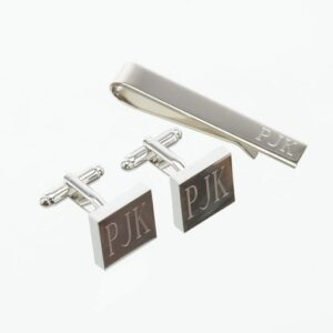 Personalized Silver Square Cufflinks & Tie Clip Gift Set (Gift Boxed)