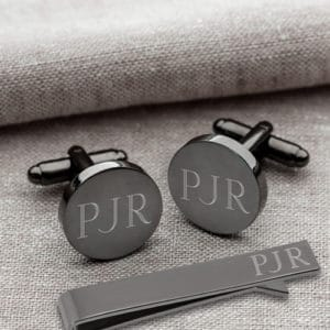 gunmetal cufflinks and tie clip gift set for groomsmen