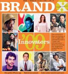 LA Times Brand X Magazine cover featuring Chris Easter of The Man Registry as a top innovator in 2009