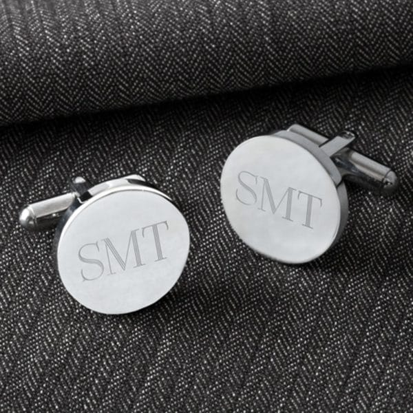 Personalized Classic Silver Round Cufflinks