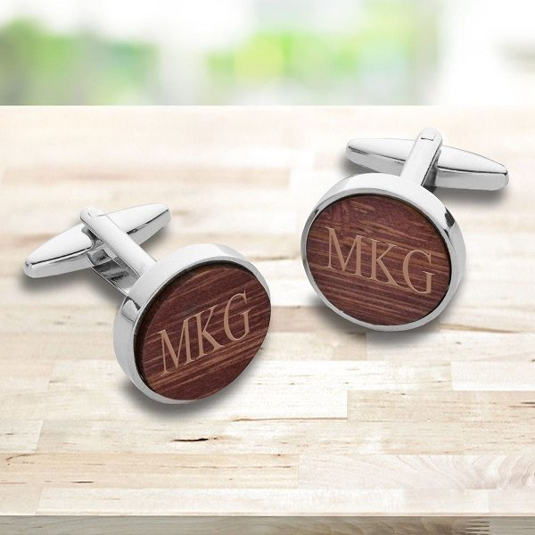 Personalized Walnut Wood Cufflinks