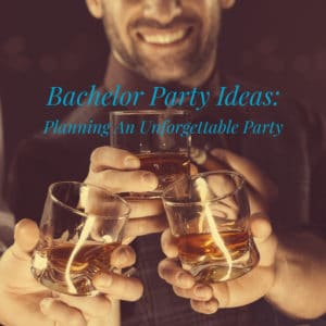 bachelor party celebration with a glass of whiskey