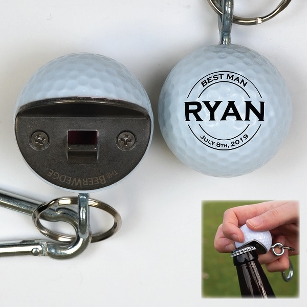 Personalized Golf Ball Bottle Opener with Custom Groomsmen Designs