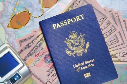 passport and money for honeymoon