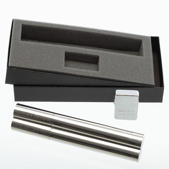 Personalized Cigar Holder Flask & Engraved Lighter Groomsman Gift Set