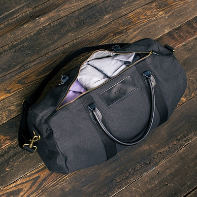 black personalized duffle bag