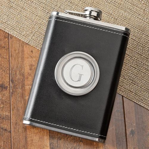 Personalized 2-in-1 Leather Flask with Folding Shot Glass