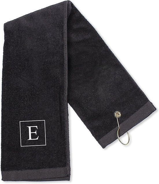 Personalized Classic Black Golf Towel