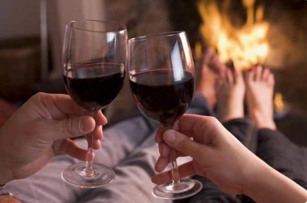 romantic honeymoon wine and fire