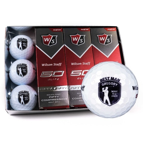 1 Dozen Groomsmen Golf Balls - Golfer Shield Design