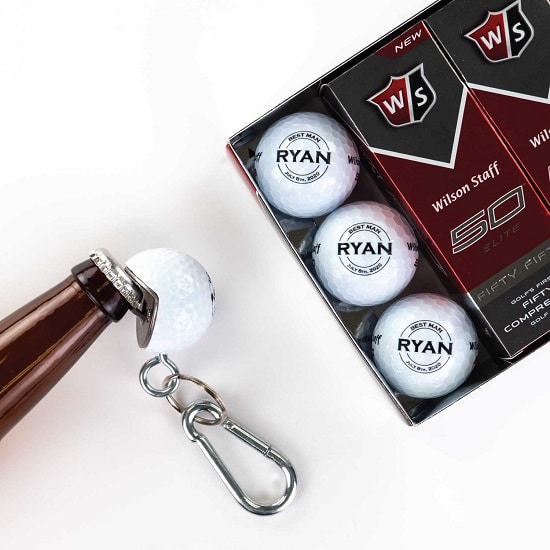 12 Golf Ball 1 Beer Wedge Set - Circle Design