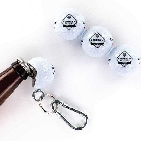 3 Golf Ball 1 Beer Wedge Set - Diamond Design