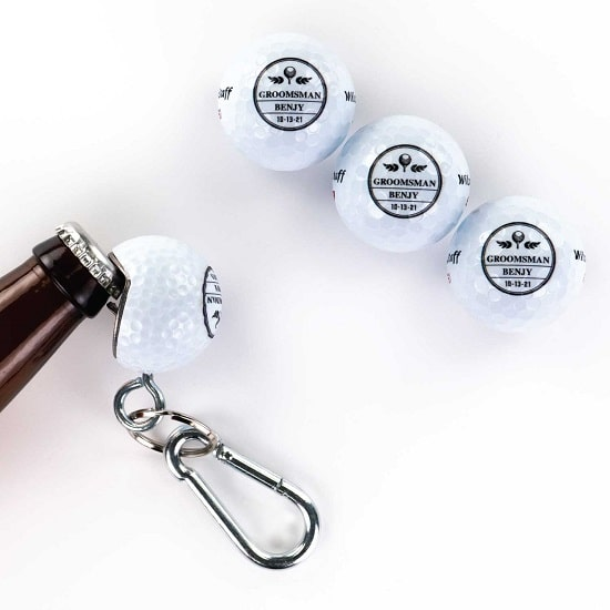 3 Golf Ball 1 Beer Wedge Set - FleuDeLis Design