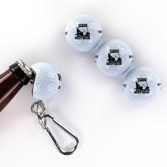 3 Golf Ball 1 Beer Wedge Set - Golf Cart Design