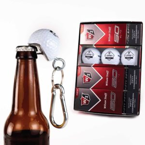 Set of 12 Custom Groomsmen Golf Balls and 1 BeerWedge Bottle Opener